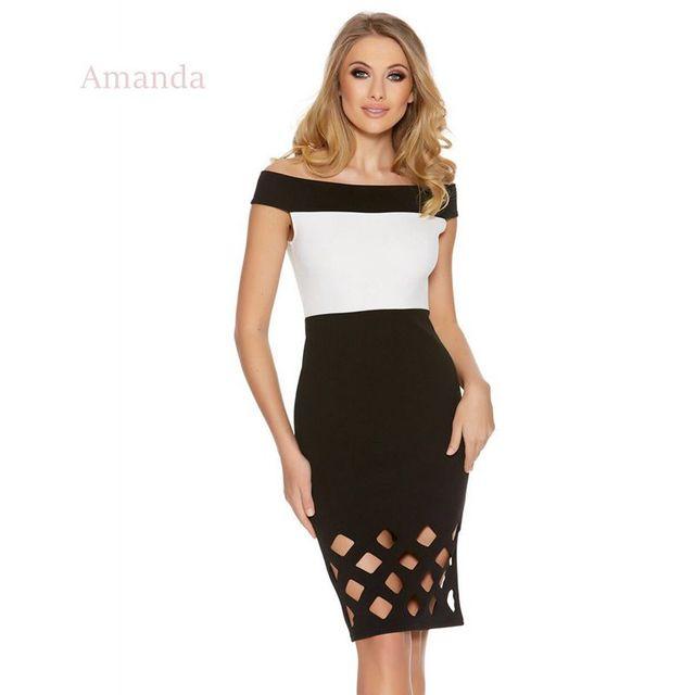 6e63f8fb33a91 Blanc noir patchwork encolure bandage robe élégante femmes robe d été femmes  brève vetsido fille
