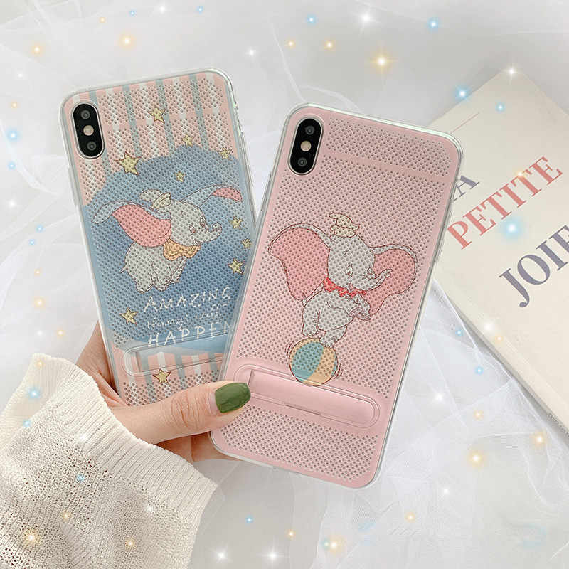 Pink Cute Cartoon Animation Dumbo Phone Case For iPhone X Xs XR Xsmax 7 7 Puls 6 6S 7 8Puls Cases Hidden Stand Holder Soft Cover
