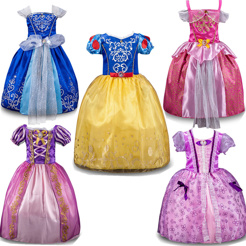 Summer Dress for Girls Party Dresses Kids Girl Princess Snow White Cinderella Sleeping Beauty Sofia Cosplay Costume Clothing все цены