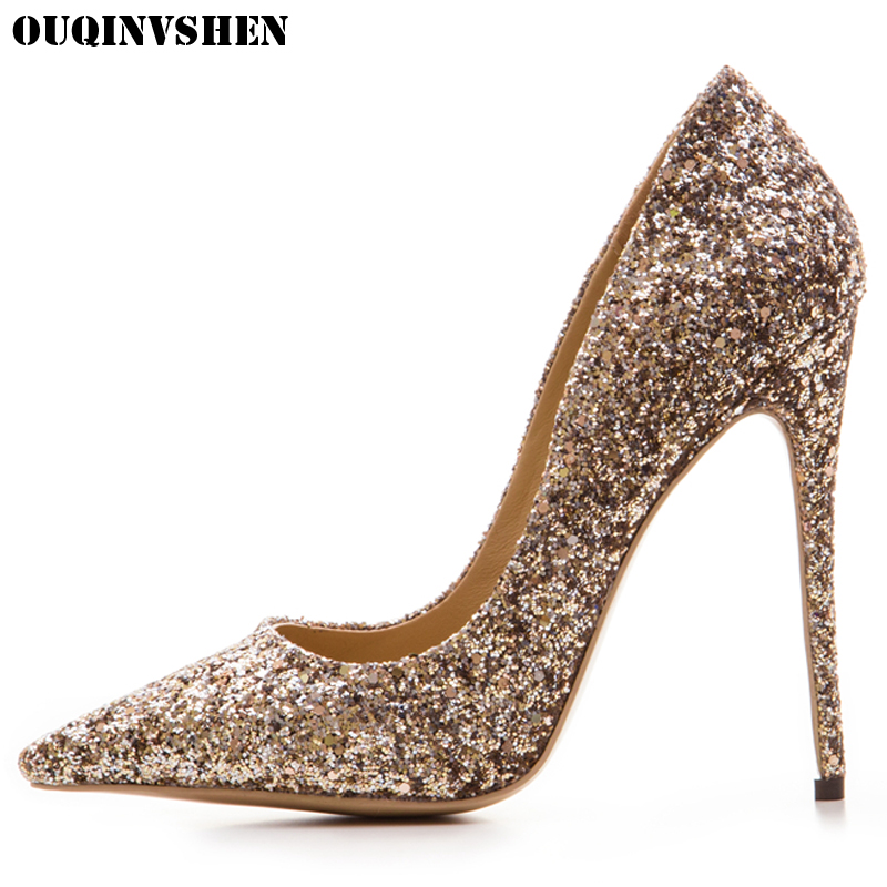OUQINVSHEN  Pointed Toe High Heels Bling Shallow Women Pumps New Thin Heels Single Shoes Casual Fashion Stiletto heel High Heels ouqinvshen pointed toe high heels bling shallow women pumps new thin heels single shoes casual fashion stiletto heel high heels