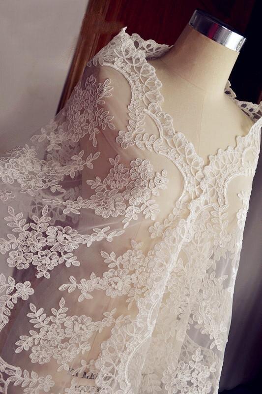 2016 off white lace fabric cord lace fabric alencon lace for White lace fabric for wedding dresses