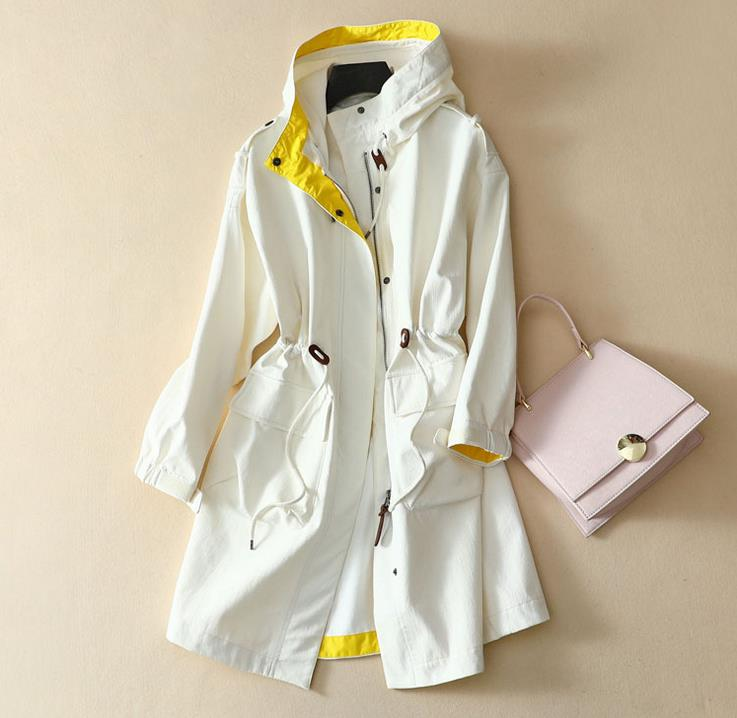 2017 New Brand Clothing Women Spring Autumn Parka Womens Long Thin Jacket With Hat Fashion