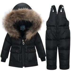 Image 2 - Baby Verdikte Warm Wit Duck Down Set Zuigelingen Russische Winter Outdoor Grote Bontkraag Skipakken Kids Hooded Winddicht sets