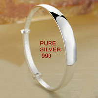AUTHENTIC PURE SILVER 990 ADJUSTABLE SIZE BANGLES SMOOTH SURFACE LOOKS SIMPLE BUT VERY BEAUTIFUL PURER THAN