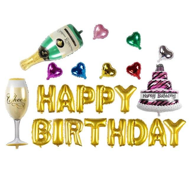 Oro Argenteo Buon Compleanno E Bottiglia Di Champagne Set Foil