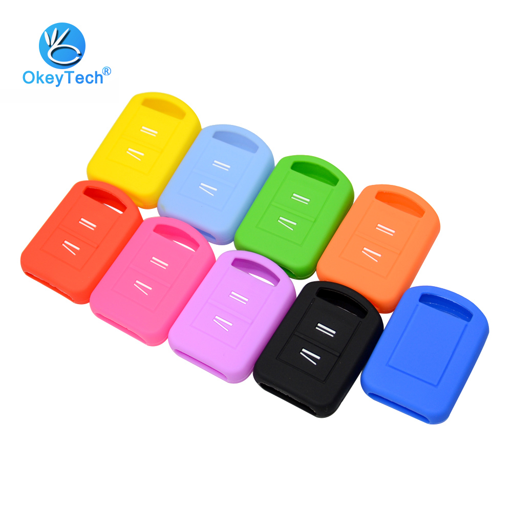 OkeyTech 2 Buttons Silicone Key Cover Fit For Opel Vauxhall Corsa C Meriva Agila Protector Remote Shell Fob Car Accessories