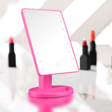 цена на LED Makeup Mirror Lighted with 16 LEDs Cosmetic Mirror with Touch Dimmer Switch Battery Operated Stand For Tabletop Bathroom