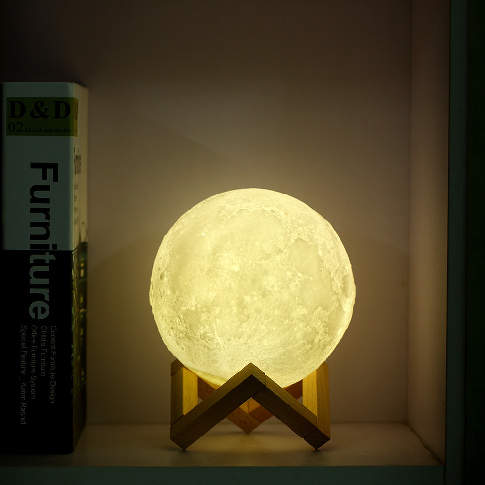 leadleds Rechargeable 3D Print Moon light Luna Touch 3 Colors Change Switch LED Night Light Home Decor Kids gift 8cm 12cm 15cm