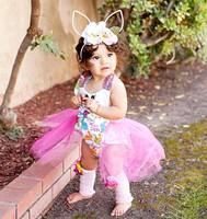 Newborn Infant Baby Girls Bodysuit Clothes Tops Bunny Flower Tulle Cute Belt Baby Girl Sunsuit Clothing