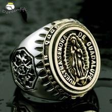Религиозные ювелирные изделия христианская Дева Мария икона мужское кольцо Винтаж Тибет мода индивидуальность Размер 7 8 9 10 11 12 13 14