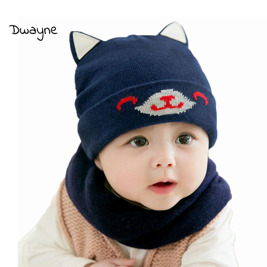 Baby Boy Caps Winter Girl Hats And Ring Scarves Set Cotton Kids Beanies Cap Scarf Collar Children Hat Accessories Cartoon Suit