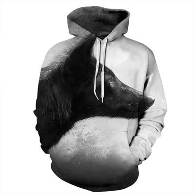 2019 New Fashion Wolf Hoodies Men/women 3d Sweatshirts Print Paint Thin Hooded Hoody Pullovers Hip Hop