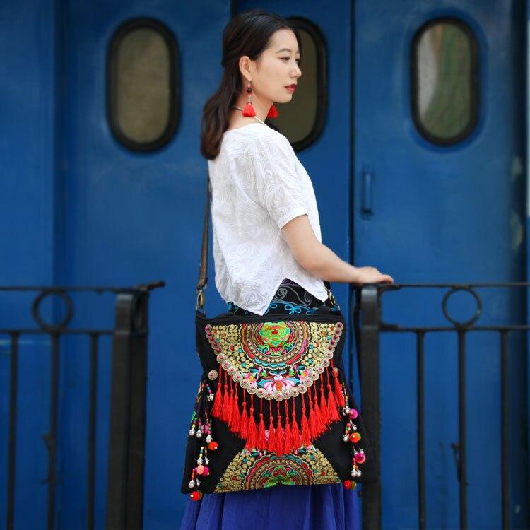 Ethnique Double face brodé femmes sacs à main Vintage gland rivet décontracté épaule messenger sacs - 2