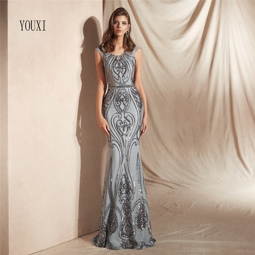 Elegant Evening Dresses 2019 Mermaid Sleeveless Embroidery Lace Women Formal Party Gown Prom Dress Robe de