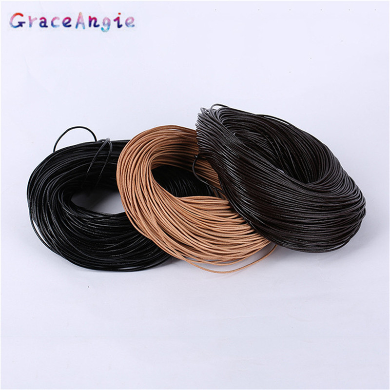 Jewelry Crafts 1mm 2mm 3mm 2meter Round Braided Leather Cord String Rope Fashion Jewelry Making DIY Necklace Bracelets Accessory artificial leather rope round collarbone necklace