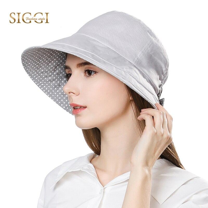 SIGGI Linen Summer Sun Hat For Women Bucket chapeu feminino praia chapeau femme wide Brim UPF50+ UV Cap chin strap fashion 89009