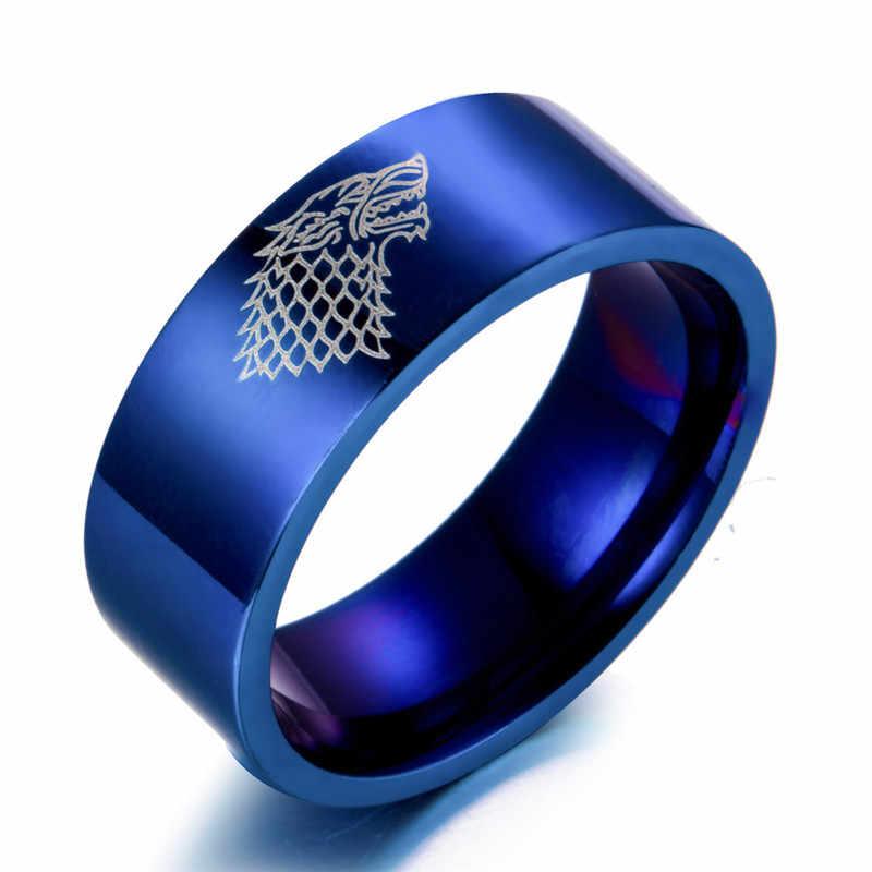 ZORCVENS nowa stal nierdzewna pierścień gra o tron lodowy wilk dom Stark z Winterfell mężczyzn pierścień