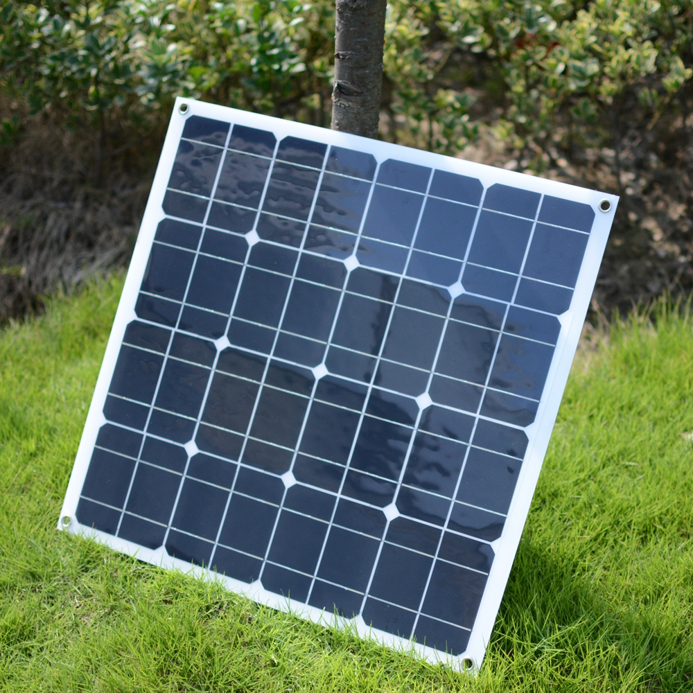 Flexible 20V 35W Solar Panel 16pcs Mono Silicon Solar Cells Charger For 12V battery Car Motorhomes Solar Power Cell 550*540*2mm 2pcs 4pcs mono 20v 100w flexible solar panel modules for fishing boat car rv 12v battery solar charger 36 solar cells 100w