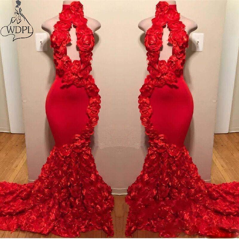 Red New Design Mermaid Prom Dresses 3D Appliques High Neck Sexy Formal Evening Dress Sweep Train Satin Party Gown robe de soiree(China)