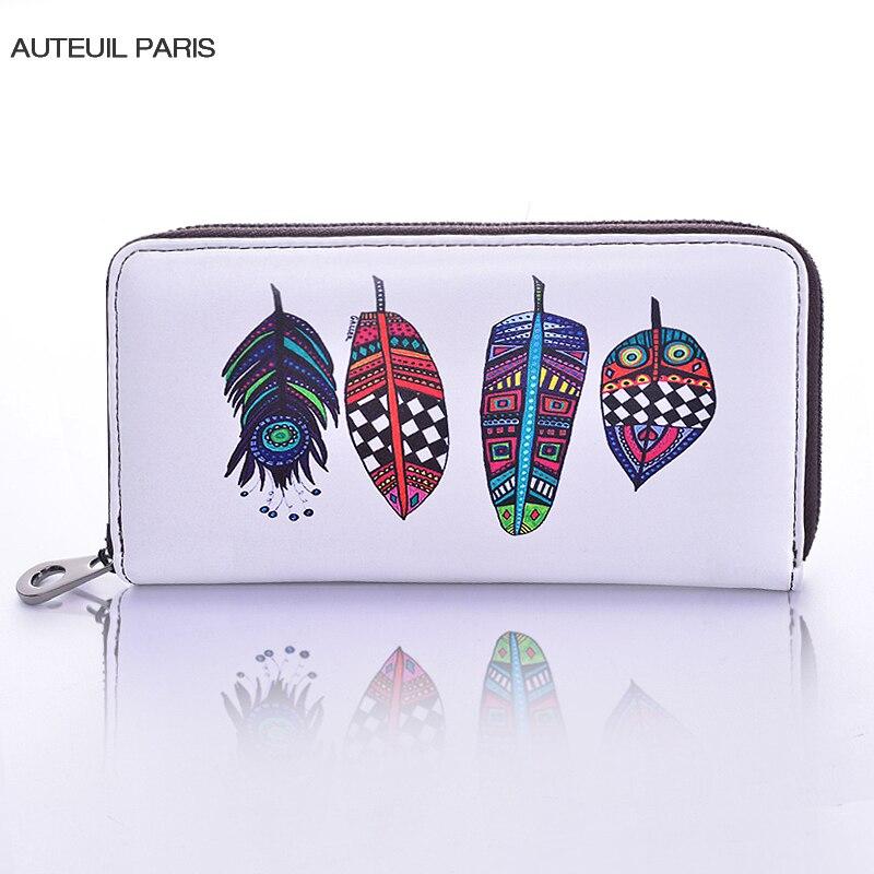 AUTEUIL PARIS 2017 New Arrival Women Wallet Slim Wallet Cartoon Printing Money Clip Ladies Leather Wallets 9 Colors High Quality