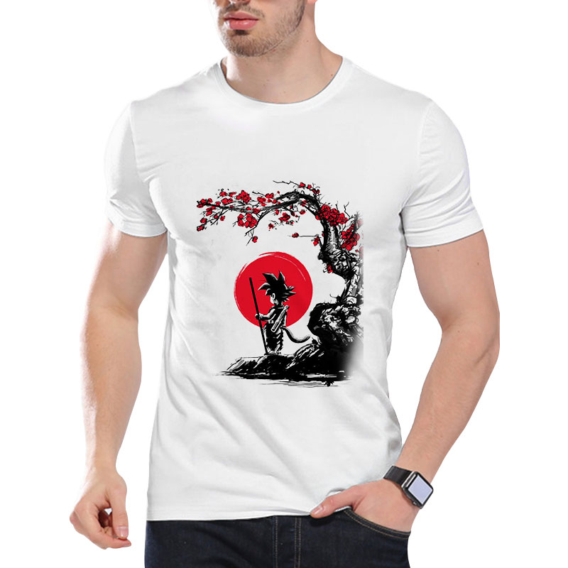 2019 New Summer Men 's Fashion Cotton Short Sleeve O Neck Casual T-shirt Dragon Ball Print Personality Tops