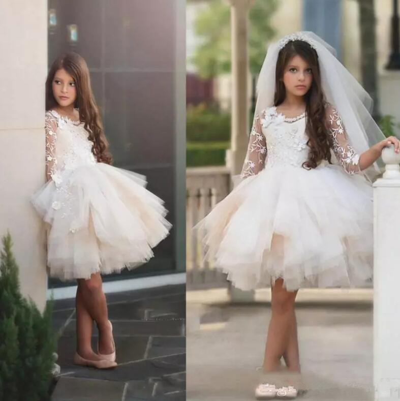 Flower Girl Dresses for Wedding 2018 Sheer Long Sleeves Lace Appliques Girls Pageant Gowns Fluffy Custom Made ювелирные кольца ivanka silver кольцо