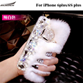 10 Color Quality Rex Rabbit Fur Back Cases Plush  Diamond Bling Cases Crystal Cover Shell Covers Bag For iPhone 6 plus/6S plus