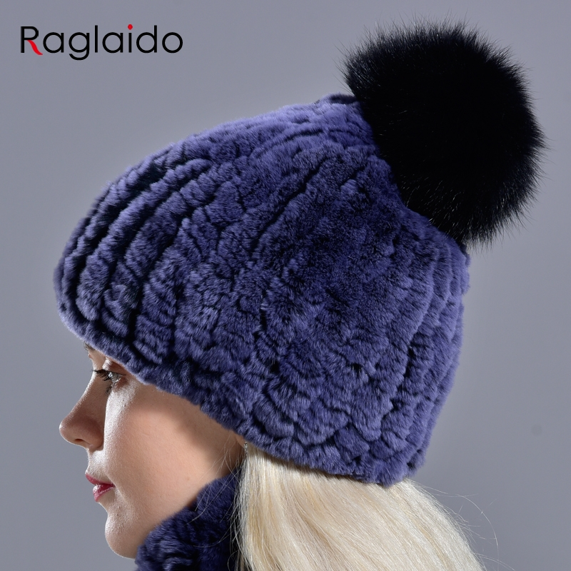 Raglaido Knitted Pompom Hats for Women Beanies Solid Elastic Rex Rabbit Fur Caps Winter Hat Skullies Fashion Accessories LQ11219 3