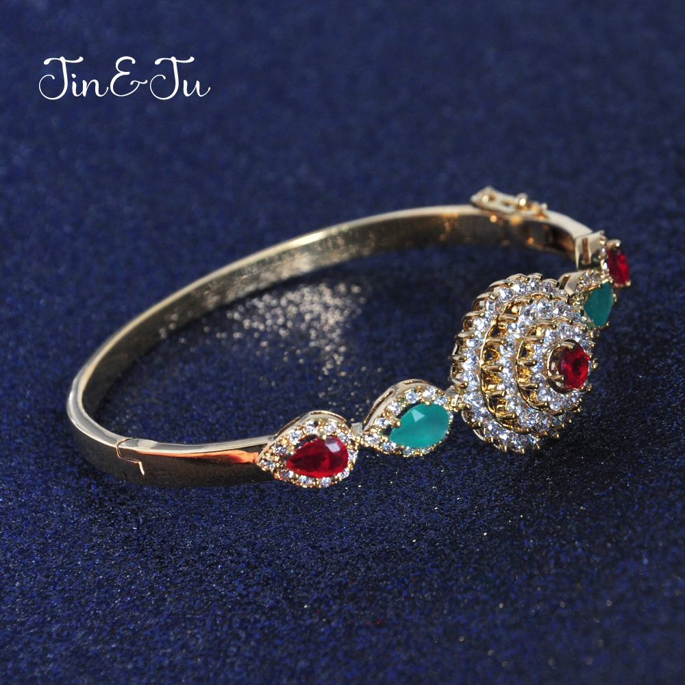 Jin&Ju 2017 New Design Jewelry Colourful Imitation Gold Plating Cubic Zircon&Crystal Mothers Day Gift bracelet