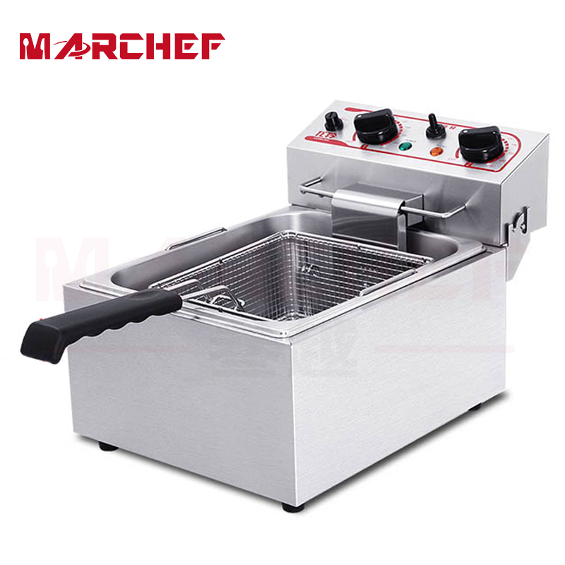 Deluxe 10L Single Tank Stainless Steel Potato Chips Deep Fat Fryer W/ Dual Temperature Controller salter air fryer home high capacity multifunction no smoke chicken wings fries machine intelligent electric fryer