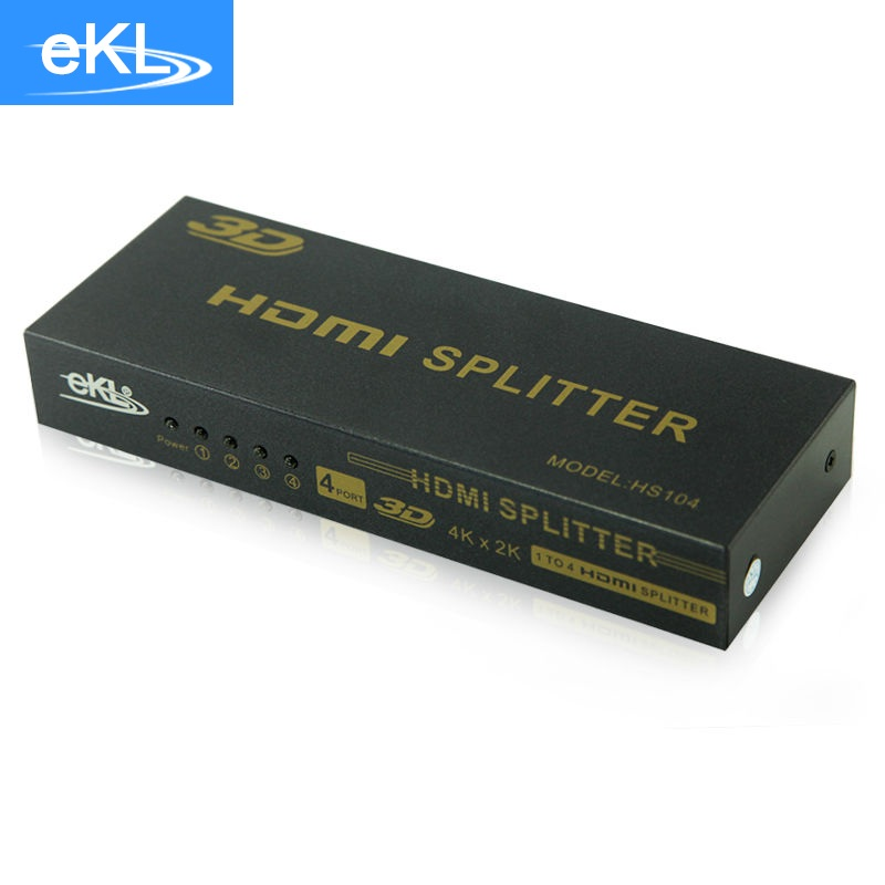EKL HDMI Splitter 1 input 4 output 3D HD video Computer 4K with audio 1080P HDMI Adapter