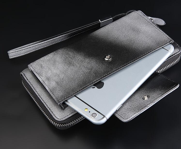 Men Genuine Leather Sheepskin Wallet Gradient Color Portable Long Purse Capacity for iPhone 6 6S Plus Samsung Galaxy note 5 floveme retro genuine leather wallet pouch for iphone 6s plus 6 plus etc coffee