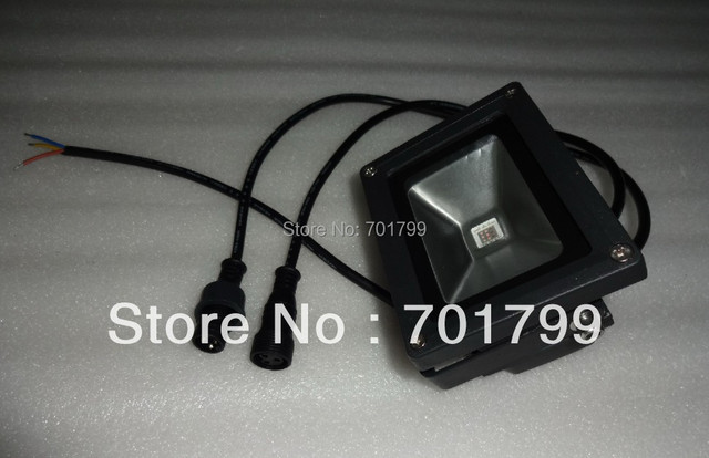 DC12V input 10W RGB DMX LED flood light;IP66;high quality;with 15mm 3 core waterproof connector for dmx