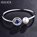 GULICX New Fashion Designer Bangles Simulated Pearl Cuff Bangles & Bracelets Women Accessories Srebrna bransoletka z044