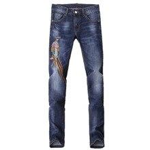 2017 весна новый стиль мужская повседневная мода джинсы мужчин высокое качество прямой синий 100% хлопок мужские джинсы размер 29-36