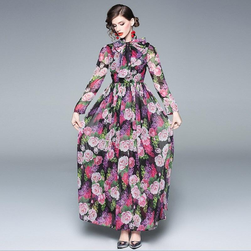 Femmes Robe Robes De Fleur Mode Élégant Imprimé Longues Jupe Nouveau 2019 Européenne Printemps 1wSqv6