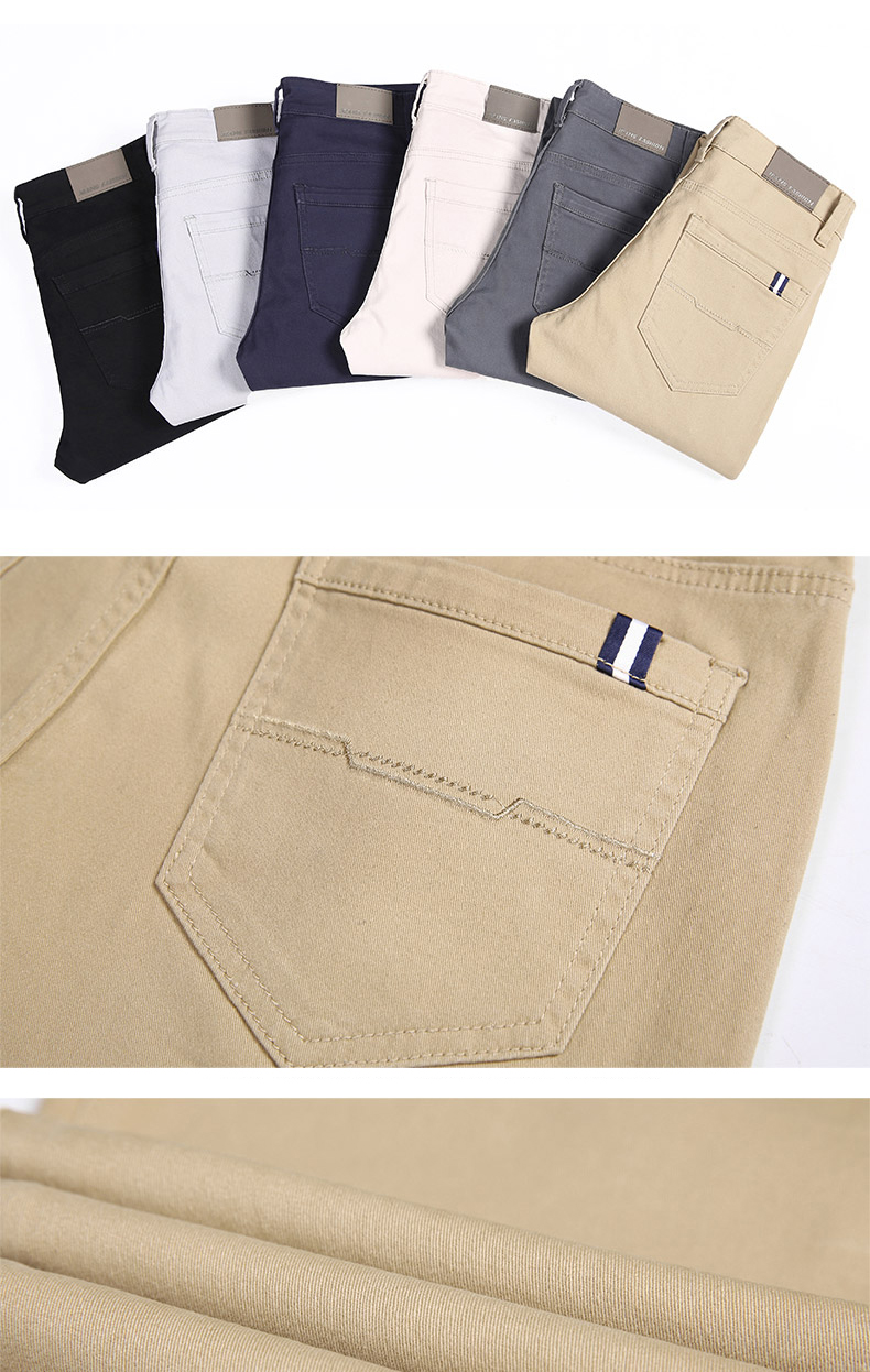 HTB1YIc3aEjrK1RkHFNRq6ySvpXaE 6 Color Casual Pants Men 2019 Spring New Business Fashion Casual Elastic Straigh Trousers Male Brand Gray White Khaki Navy