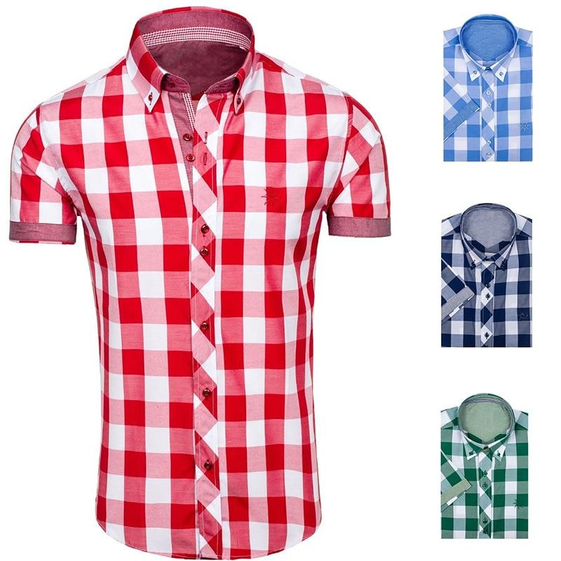 ZOGAA 2018 New Korean Fashion Polka Dot Stitiching Shirt Men's Short Sleeve Shirt Smart Casual Turn-down Collar Broadcloth Shirt
