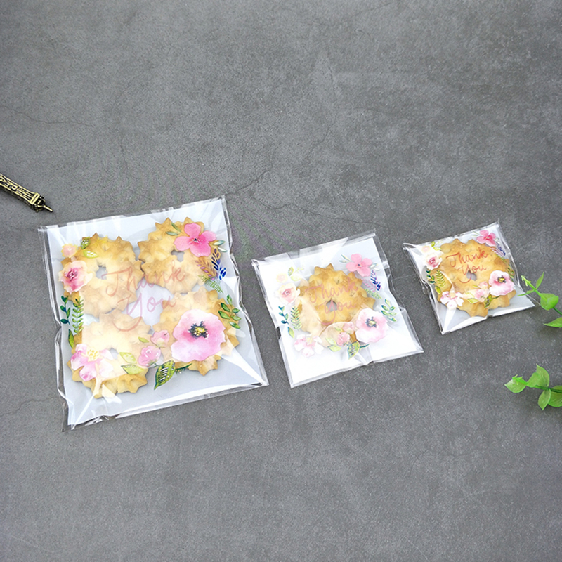 Пакеты для конфет и печенья LBSISI Life Thank You, подарочные пакеты для печенья с цветами, самоклеящиеся пакеты для упаковки печенья ручной работы