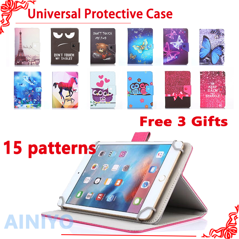 Universal Cover case for Huawei MediaPad T1 8.0 S8-701U/S8-701W 8 inch Tablet Cartoon Printed PU Leather Case +3 gift silicone with bracket flat case for huawei mediapad m5 8 4 inch