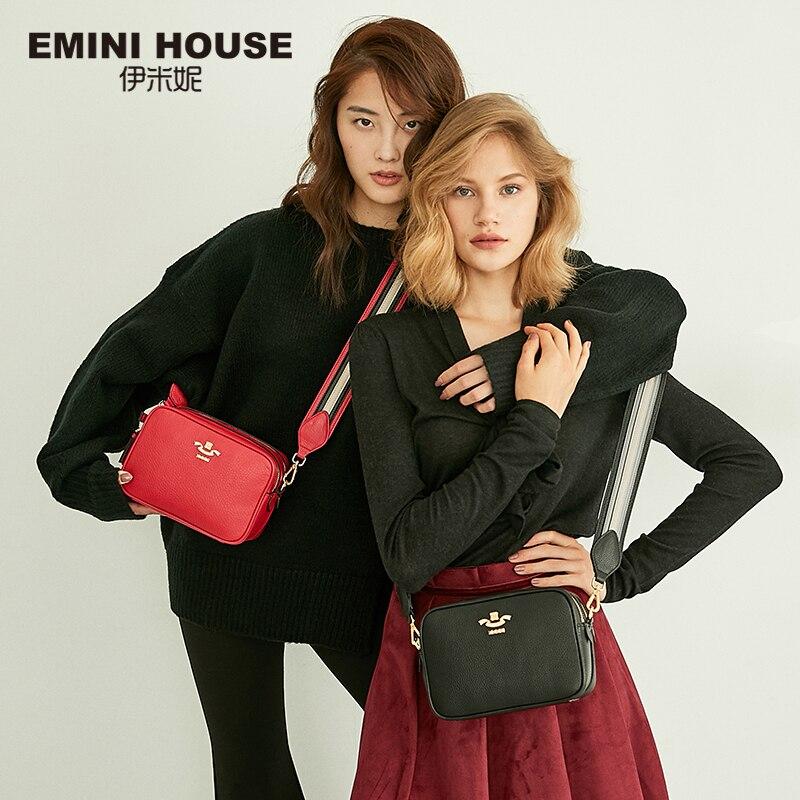 EMINI HOUSE กระเป๋าหนังแท้ Crossbody กระเป๋าสำหรับผู้หญิงไหล่กระเป๋าหญิงลายสแควร์รูปร่างที่มีชื่อเสียงยี่ห้อผู้หญิงกระเป๋า 2018-ใน กระเป๋าสะพายไหล่ จาก สัมภาระและกระเป๋า บน   1