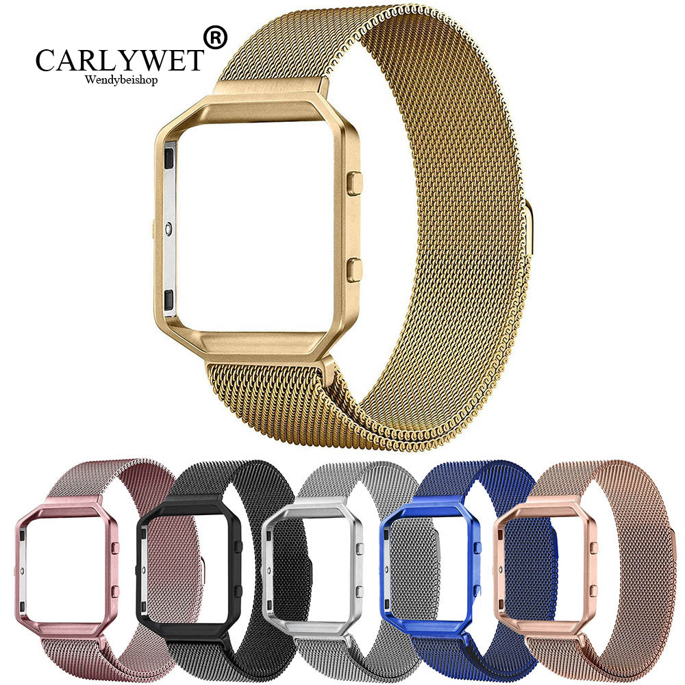 CARLYWET Stainless Steel Mesh Milanese Wrist Watch Strap Belt Bracelet Magnetic Closure with Case Metal Frame For Fitbit watch crested milanese loop strap metal frame for fitbit blaze stainless steel watch band magnetic lock bracelet wristwatch bracelet