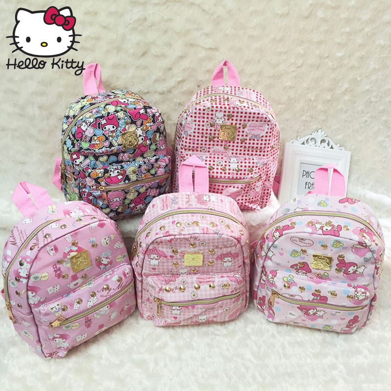 Hello Kitty Bag Children's Cartoon My Melody Large Girls Bags Travel KT Backpack Waterproof Girl Schoolbag Shoulder Good Quality