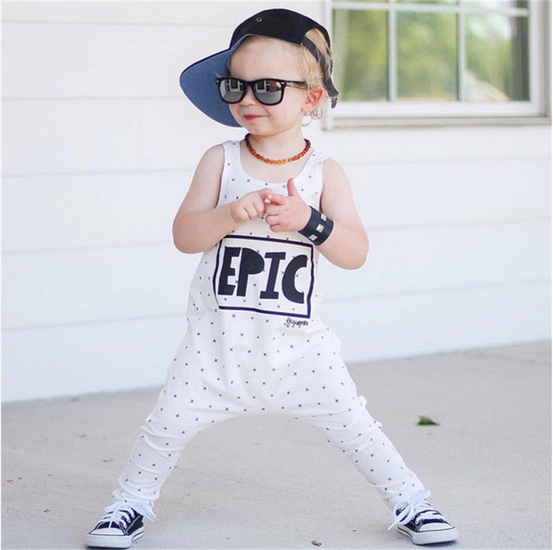 Fashion Toddler Newborn Infant Baby Boy Girl Kids Clothes White Letter Printed Cotton   Romper   Jumpsuit Outfit