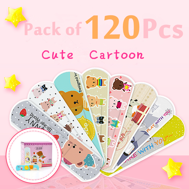 120 Pcs Children's Adhesive Bandages For Kids Protection Cute Lovely Cartoon Print Waterproof Breathable Band Aid Assorted