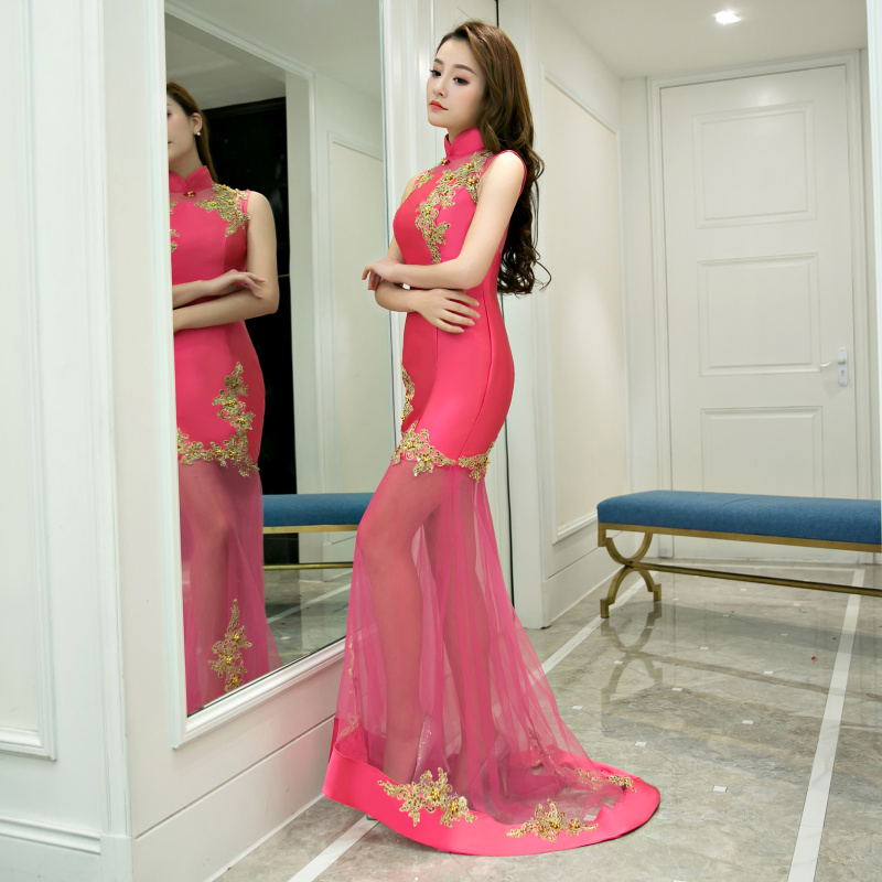 Oriental Charm Evening Dress Silk Like Satin Long Prom Dress Zipper ...