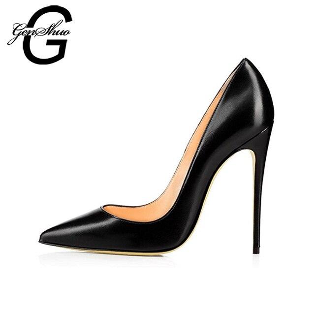 959a80b32a GENSHUO Black Matte High Heels Shoes Women Pumps Pointed-Toe Stiletto Heels  Shoes Woman Wedding Shoes Size 35-42