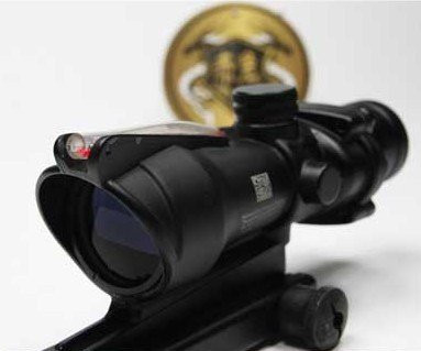 4x32 ACOG Airsoft Hunting Rifle scope Hunting Optics Red Real Fiber scope with real fiber RF-004 for Air Gun Hunting Shooting 4x magnifier scope fts flip to side for aimpoint or similar scopes sights for airsoft hunting