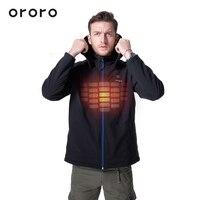 ORORO Mens Black Hooded Heated Electric Jackets Rechargeable Battery Winterwarm Fleece Biker Outerwear Windbreaker Coats Hoodie