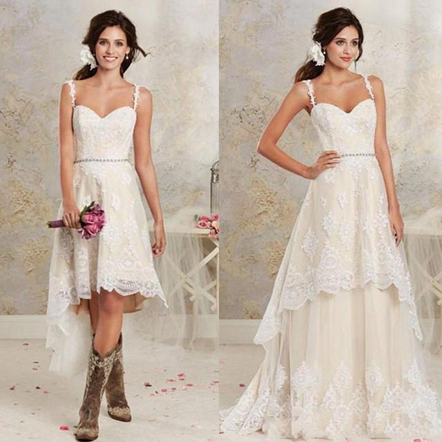 c8c0d1c63 New Fashion High Low A Line Full Lace Removable Wedding Dresses Sexy  Spaghetti Backless Summer Bridal Gown with Detachable Train